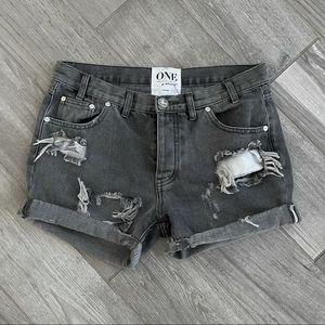 One by One Teaspoon Charger Distressed Shorts